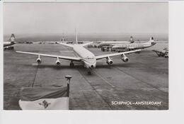 Vintage Rppc KLM K.L.M Royal Dutch Airlines Electra L-188 & Viscount Douglas Dc-8 @ Schiphol Airport - 1919-1938: Between Wars