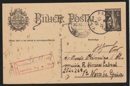 Portugal - Stationery  BILHETE POSTAL 1929 Used Registered Card With Ceres 25 C.(only Text On The Back) - Enteros Postales
