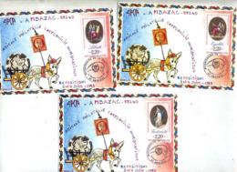 3 Cartes   Cachet  Ambazac Bicentenaire Révolution  Sur Révolution - Cachets Commémoratifs