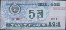TWN - NORTH KOREA 24a - 5 Chon 1988 Prefix ㄷㅌ UNC - Corea Del Nord
