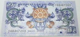 Billete Bhutan. 2013. 1 Ngultrum. SC. Sin Circular. Posibilidad De Números Correlativos, Billete Sacado De Un Taco - Bhutan