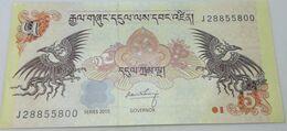 Billete Bhutan. 2015. 5 Ngultrum. SC. Sin Circular. Posibilidad De Números Correlativos, Billete Sacado De Un Taco - Bhutan