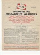 DEPLIANT   COMPAGNIE   DES MESSAGERIES  MARITIMES         AVRIL  1953 - Schiffe