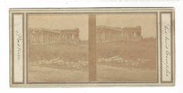Paestum  Les Trois Temples    Stereoview  Vers 1860 - Stereoscopio