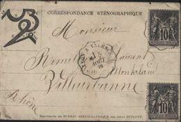 Enveloppe Illustrée Le Sténographe Correspondance Sténographique YT 89 Sage (N/V) X2 CAD Ambulant Lyon à Valence 18 8 78 - Marcofilia (sobres)