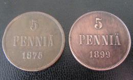 Finlande / Suomi - 2 Monnaies 5 PENNIA 1875 Et 1899 - Finlandia
