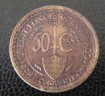 Monaco Sous Louis II - Monnaie / Bon Pour 50 Centimes 1924 - Crédit Foncier De Monaco - Patine Cuivrée - Monaco