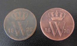 Pays-Bas / Nederland - 2 Monnaie 1 Cent 1822 Et 1870 Utrecht - Pays-Bas