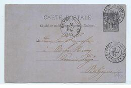 CARTE POSTALE Cachet De L'exposition Universelle De 1889 VERS BEYNE-HEUSAY - Marcophilie (Lettres)