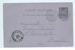 CARTE POSTALE Cachet De L'exposition Universelle De 1889 VERS BRUXELLES.cachet De La Tour Eiffel - Marcophilie (Lettres)