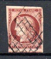 France Y&v 6b Carmin Brun Obl TB Cat. 1000€ - 1849-1850 Cérès
