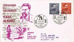 37459. Carta F.D.C. MADRID 1960. Tema MUSICA, Musik, Centenario Isaac ALBENIZ - FDC