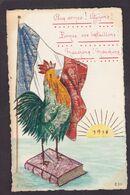 CPA Carte Faite à La Main Avec Des Timbres Découpés Non Circulé Patriotique Coq - Stamps (pictures)