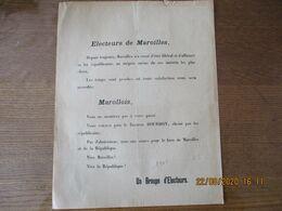 ELECTEURS DE MAROILLES VOUS VOTEREZ POUR LE DOCTEUR BOURDON 1901 UN GROUPE D'ELECTEURS - Historische Dokumente