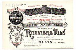 Dijon   -  Rouviere& Fils  - Liqueurs - Format 9X13 -   CPA °R - Dijon