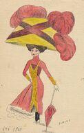 Signée Simone Hand Made ; Faite Main ; Eté 1909 Femme Au Grand Chapeau . Port De Bouc Au Beausset Var - Mode