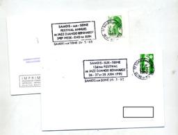 Lettre Flamme Samois Sur Seine Festival Django Reinhardt - Postmark Collection (Covers)