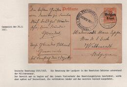REF1668/ Entier CP 8 Cent écrit De Völkerich C.Gemmenich 29/11/17 Censure Verviers > Welkenraedt - WW I
