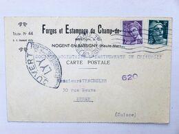 FRANCE > SUISSE // 1945, CP CENSURE - Forges Et Estampage...., PARIS > BERNE -  2f MARIANNE De GANDON + 40c MERCURE - Postmark Collection (Covers)