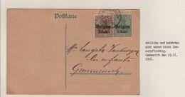 REF1669/ Entier CP 5 Cent Uprated Pas De Censure C.Gemmenich 22/11/1916 > E/V - Weltkrieg 1914-18