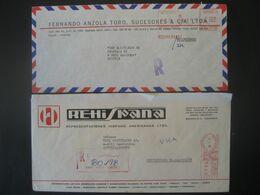 Kolumbien 1982/85- 2 Reco-Geschäftsbrief Mit Freistempel - Marcofilia