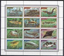 Guyana 1980 - Mi.Nr. 580 - 591 Zusammendruckbogen - Postfrisch MNH - Tiere Animals Fische Fishes - Fishes