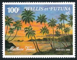 WALLIS ET FUTUNA 1990 - Yv. 404A **   Faciale= 0,84 EUR - Paysage Avec Palmiers, Meilleurs Voeux  ..Réf.W&F22731 - Neufs