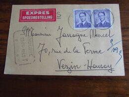 N° 1029 (2X) Sur Carte Expédiée En EXPRES De Namur 1 Pour ANDENNE (télégraphique) En 1962 - Altri