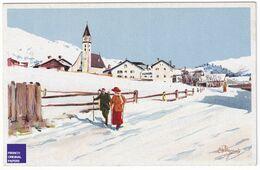 Illustrateur Pellegrini Editeur Vouga Genève Suisse - Paysage De Montagne Village Marche Ski Neige Hiver Eglise A40-25 - GR Grisons