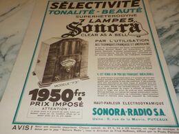 ANCIENNE PUBLICITE SELECTIVITE RADIO SONORA  1932 - Radio & TSF