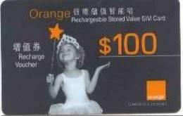 HONGKONG : HKG01 $100 ORANGE Little Girl+star USED - Hongkong