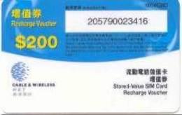HONGKONG : HKG10 $200 C+W HKY Recharge Voucher USED - Hongkong