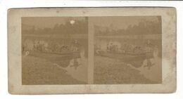 Bac De Rivière ( à Roue ? ) Stereoview  Vers 1860 / 70 - Stereoscopio