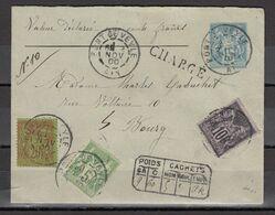& France Sage Valeur Déclarée 500 Francs Descriptif Au Recto Sur Entier Enveloppe 15c 147 X 112 .. SUPERBE RRR - 1876-1898 Sage (Type II)