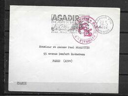 MAROC LETTRE FLAMME AGADIR + MARINE NATIONALE VERSO MANQUE UNE PARTIE DE RABATS - Covers & Documents
