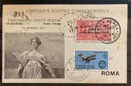 Cartolina Postale Commemorativa Esperimento Di Posta Aerea 1917 1967 Bolzano - Postwaardestukken