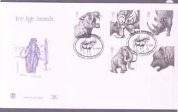 PREHISTORIC ANIMALS - GB - 2006 - ICE AGE ANIMALS SET OF 5 ON  FDC WITH CLAPHAM,LANCS POSTMARK - Prehistorics