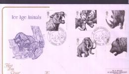 PREHISTORIC ANIMALS - GB - 2006 - ICE AGE ANIMALS SET OF 5 ON  FDC WITH LONDON MAMMOTH  POSTMARK - Prehistorics