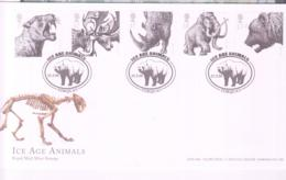 PREHISTORIC ANIMALS - GB - 2006 - ICE AGE ANIMALS SET OF 5 ON  FDC WITH TORQUAY ICE BEAR   POSTMARK - Prehistorics