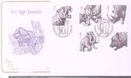 PREHISTORIC ANIMALS - GB - 2006 - ICE AGE ANIMALS SET OF 5 ON  FDC WITH BIRMINGHAM MAMMOTH    POSTMARK - Prehistorics
