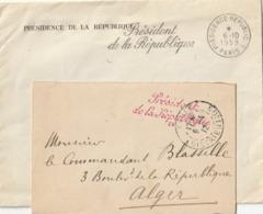 """Lot De 2 Enveloppes Avec CACHET """"Président De La République"""" 1912( Armand FALLIERES) Pour ALGER 1959 (Gl DE GAULLE) - Sonstige"""