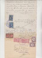 CERTIFICATO  DI NASCITA DEL 1896 RILASCIATO IN CILE CON MARCHE CONSOLARI DA LIRE 5. - Fiscale Zegels