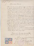 CERTIFICATO  A ODESSA  DEL 1895  CON SEI   SEGNATASSE DA 50 CENT, +LIRE 1 + LIRE 5 USATE COME CONSOLARI - Fiscale Zegels