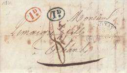 1831 - Curieuse LAC De ANNONAY Cachet Type 12 Port Dû 8 + 2 Fois 1 Décime Rural En Rouge Et En Bleu Noir ?? Pour ORLEANS - 1801-1848: Vorläufer XIX