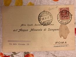 Italia Cartolina Commerciale Viaggiata Da Genzano Per Acqua Minerale Di Sangemini 1917. - Storia Postale
