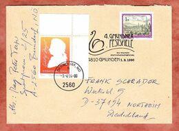 Brief, Mozart, Berndorf Nach Northeim 2006, Vignette Wipa, Auf Beleg SoSt Gmundener Festspiele 1990 (96964) - 2001-10 Cartas