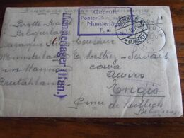 Carte De Prisonniers De Guerre Du Camp De MUNSTERLAGER (HAN.) (en Mauve) + Censure Et Cachet Idem Pour ENGIS En 1915 - Andere