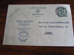 Carte Postale N° 112 (35C) Avec REPIQUAGE De GERNAY-DELBECQUE, Tissage à WAREGHEM Et Oblitérée à Wareghem En 1937 - Interi Postali