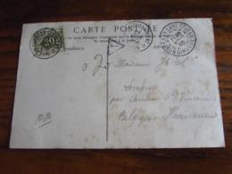 Carte Vue De Bordeaux Oblitérée Idem Pour Le RELAIS De CAMBRON-ST-VINCENT Qui TAXE à 20C En 1905 (un Peu De Rousseur) - Postmarks With Stars