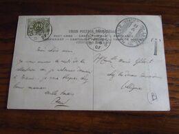 Carte Fantaisie Oblitérée NAMUR STATION (à Pont) En 1907 Pour Le RELAIS D'OLLIGNIES. TAXEE Par Ce Dernier à 20C - Storia Postale